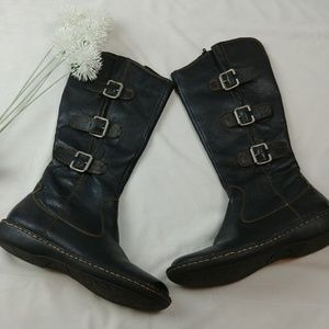 T13 Born Black Leather Below Knee Black Boots Wome